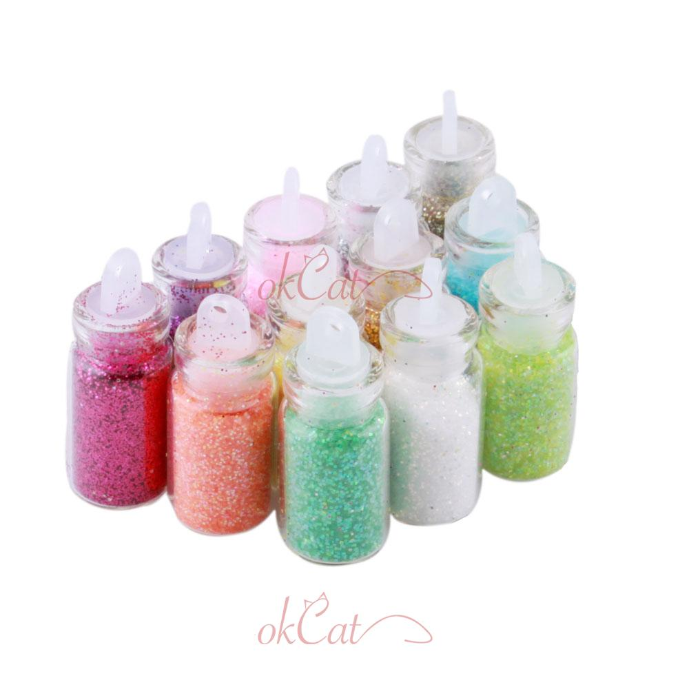 12 color glitter decor nail art powder dust bottle set for How to decorate a bottle with glitter